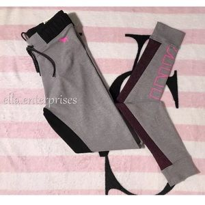 VS Pink Gray Hot Pink High Waist Campus Legging